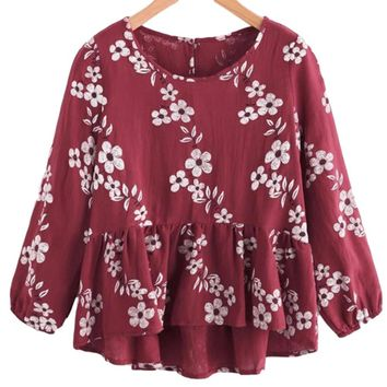 Women's Red Burgundy Empire Waist Blouse with White Daisy Flowers