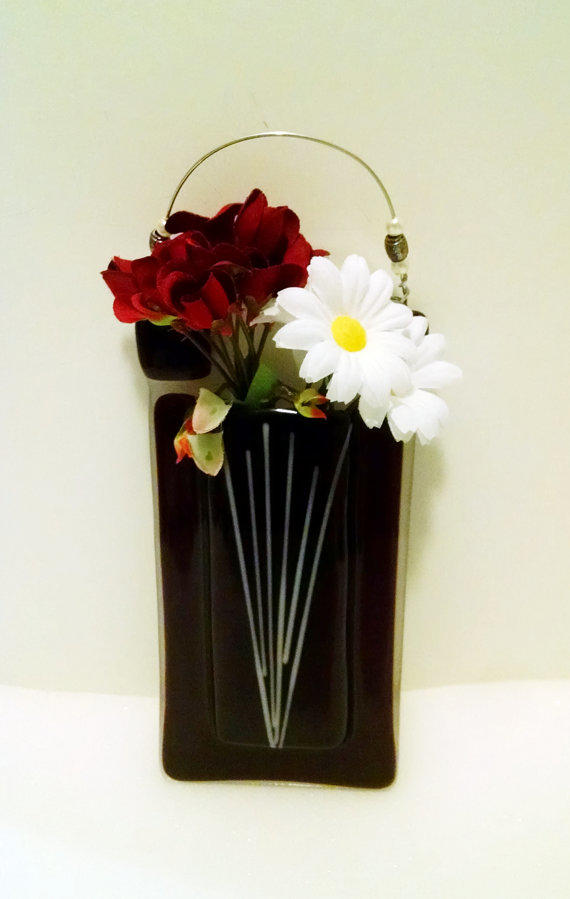 Fused Glass Pocket Vased Fused Glass Pocket Vase Wall Vase From