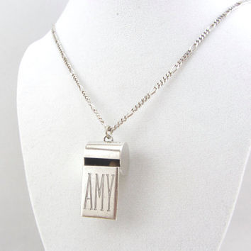 Vintage Sterling Silver Whistle Pendant Necklace Personalized Name Amy Signed Modernist Leonore Doskow Jewelry