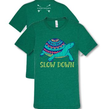 Southern Couture Lightheart Slow Down Aztec Turtle Triblend Front Print T-Shirt