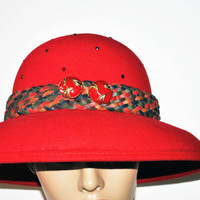 Red Cloche Felt Hat, Red Hat With Vintage Recycled Buttons