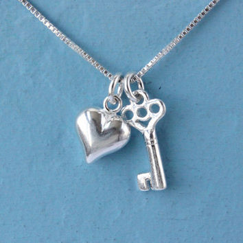 Key to Heart necklace, 925 Sterling Silver, tiny puffed heart and key charms on box chain, silver love necklace, gift for her