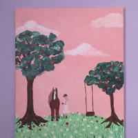 Girls Horse Painting, Horse Art on Canvas for girls room, 16x20
