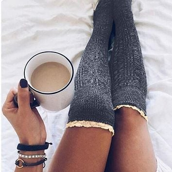 Fall Winter Slim Leg Long Socks Lace Socks 4 Colors [11921200719]