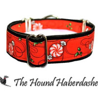 Martingale Collar: Hard Candy Christmas (1.5 Inch), Christmas Dog Collar, Greyhound Collar, Whippet Collar, Custom Dog Collars