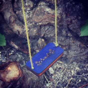 Fairy Swing - Fairy Garden Decor - Fairy Garden Swing - Garden Swing - Fairy house - Blue