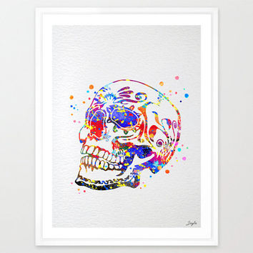 Sugar skull day of the dead watercolor illustration Art Print,Art Poster,Home Art Decor,Wall Hanging,Kids Art,Wedding,Birthday Gift, #111
