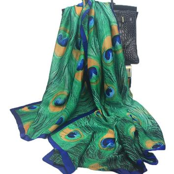 New Elegant Luxury Scarf Soft Green Peacock Feathers Printed Silk Wrap for Woman Lady Summer Autumn  90*180CM
