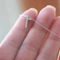 Tiny Silver Cross necklace - Small Silver Cross necklace - Tiny Silver Cross