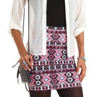 Tribal Print Bodycon Mini Skirt by Charlotte Russe