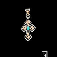 RimRock Blue Turquoise Small Budded Cross Pendant - Hyo Silver