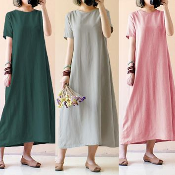 Summer Maxi Long Dress Celmia Fashion Short Sleeve Casual Loose Solid Vintage Women Cotton Linen Dresses Plus Size Vestido