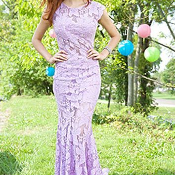 Jovani - Classy Lace Long Prom Dress with Scallop Edged Open Back 90676