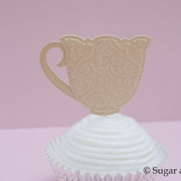 12 Paper Teacup Cupcake Toppers  Customize by sugarandsparkparties