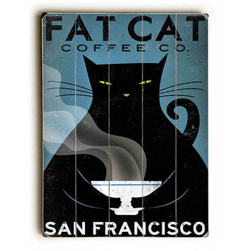 Cat Coffee by Artist Ryan Fowler Wood Sign