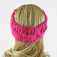 Headband, Knitted Pink Cable Ear Warmer Wool Head Wrap Hair Wrap Chunky Cable Headband, Hippie Head Band, Turban, Womens Ear Warmer