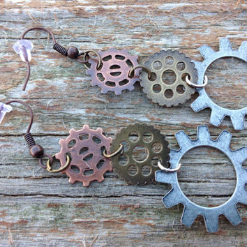 Steam punk gear long earrings - steam punk jewelry - gears - steam punk gifts - gifts for her - women gifts - Christmas - holiday - gifts
