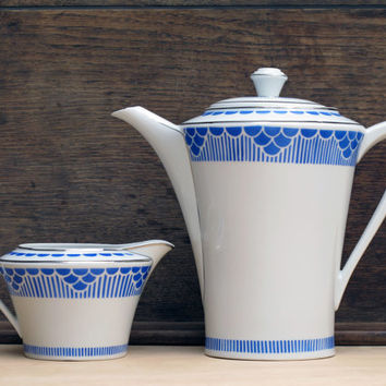 Set of Pretty french vintage Teapot and milk pot,  Limoges porcelain with blue and gold geometrical pattern