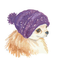 Original Chihuahua Watercolour Painting - Dog Illustration, Slouchy Knit Hat, 8x10