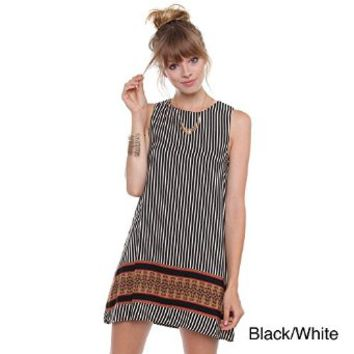 Contemporary Striped Mod Dress With Aztec border D1866