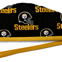 Men's Unlined Surgical Scrub Hat Cap in Pittsburgh Steelers Black