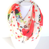Polka Dots Scarf, Floral Scarf, Women's Circle Scarf, Wide Width Scarf, Spring Scarf, Colorful Scarf, Fun Scarf