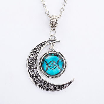 Teal Triple Moon Goddess Pendant Pentacle Planet Necklace Wiccan Jewelry Glass Dome Silver Chain Hollow Pattern Necklaces