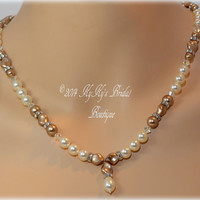 Champagne Pearl Bridal Necklace, Champagne Pearl Bidesmaid Necklace, Wedding Jewelry, Bridesmaid Gift, Mother Of The Bride