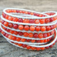 Beaded Leather Wrap Bracelet 5 Wrap with Red Orange Mountain Jade Beads on White Leather