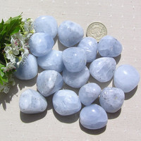 6 Large Blue Calcite Crystal Tumblestones