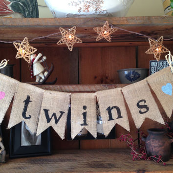 Burlap Baby Bunting, Baby Shower Decoration, Twins Bunting, Baby Bunting,  Pregnancy Photo