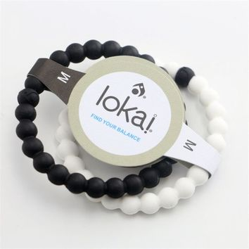 2color 1pcs Silicone Lokai Bracelet Fashion Shark Lokai Silicone Beads Balance Bracelets for Men and Women Energy Bracelet DIY