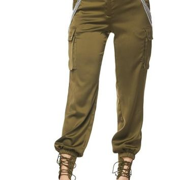Saritorial Satin Chain Pants Olive