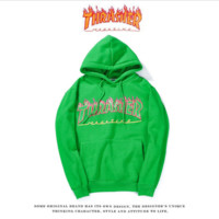 THRASHER Flame Hooded Hooded Men and Women Street Tide Brand Tops Long Sleeves Loose Hooded Jacket Green