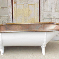 Antique 1890's copper lined tin tub, cast iron legs, oak rim