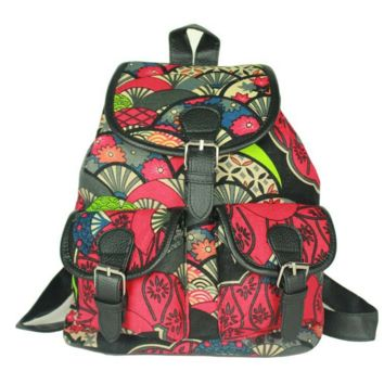 Unique Ethnic Retro Flower Bookbag Backpack School Bag