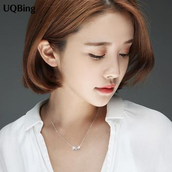 925 Sterling Silver Cube Pendants&Necklaces Pure Sterling Silver 925 Necklace Jewelry Collar Colar de Plata