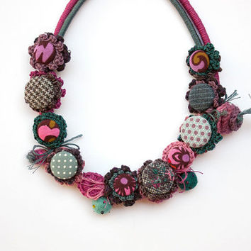 Colorful fiber necklace, crochet with fabric buttons and embroidered and felted beads, OOAK