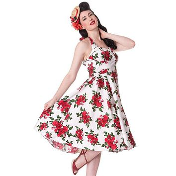 50's Vintage Red Rose Floral Print White Halter Party Dress