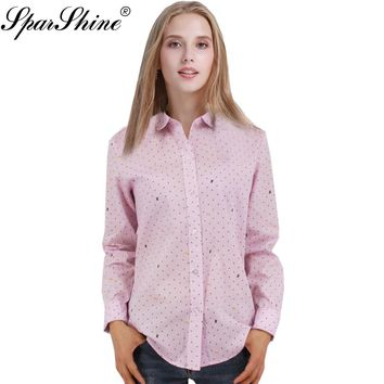 2017 Women Blouse Female Long Sleeve Office Shirts Polka Dot Dragonfly Printed Floral Striped Blusas Tops Lady Plus Size
