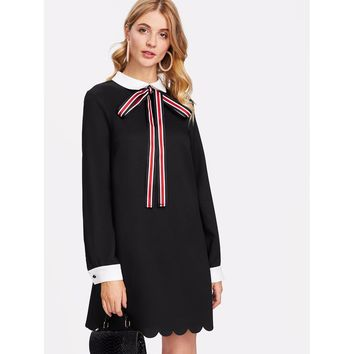 Contrast Collar And Cuff Scallop Dress