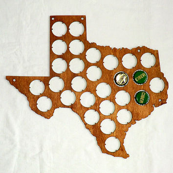 Texas Beer Cap Map Beer Cap Display Custom Personalized Engraving Father's day Gifts for Dad Valentines gifts for him Gifts for men