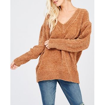 chenille oversize sweater - tan