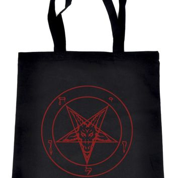 Red Sabbatic Baphomet Tote Book Bag Satan Inverted Pentagram