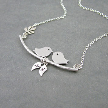 Birds on a Branch Necklace Two Initials by SweetBlueBirdJewelry