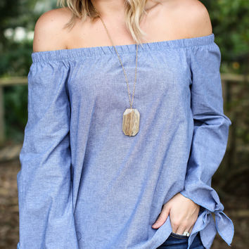 Like Me Off The Shoulder Top - Chambray