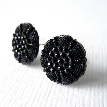 Black Flower Earrings, Sterling Silver Post Earrings