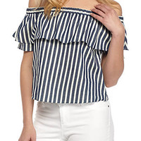 Everly Off the Shoulder Stripe Ruffle Top