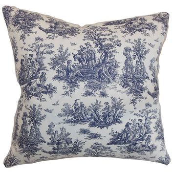 The Pillow Collection P18-PP-JAMESTOWN-BLUE-C100 Lalibela Toile Pillow Blue