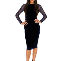 Black Lace Embroidered Long Sleeve Midi Bodycon Dress